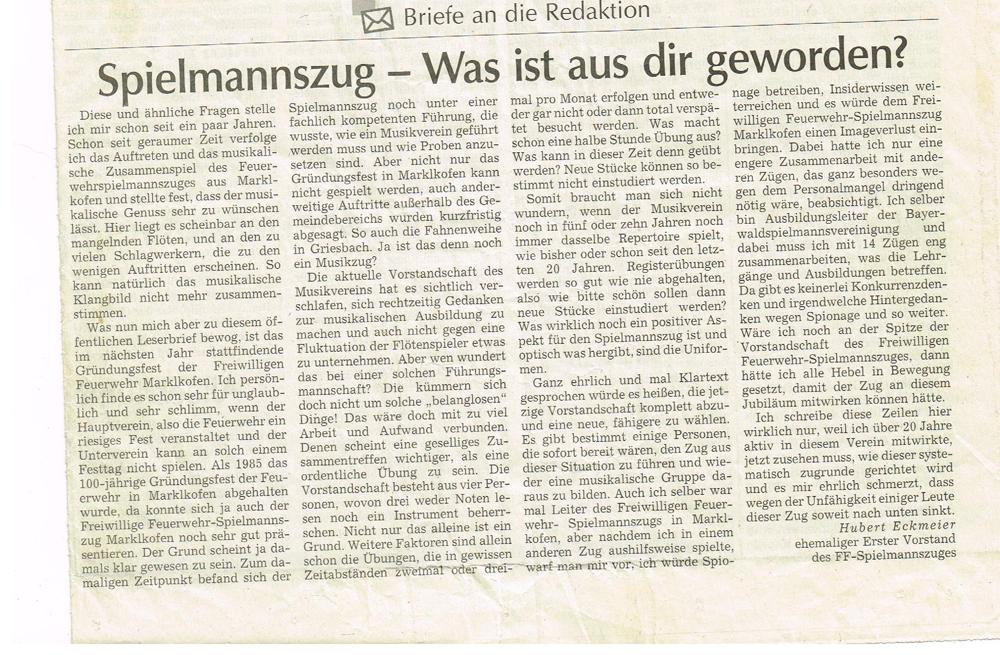 Gründungsgedanken – Ein Leserbrief und seine Folgen….